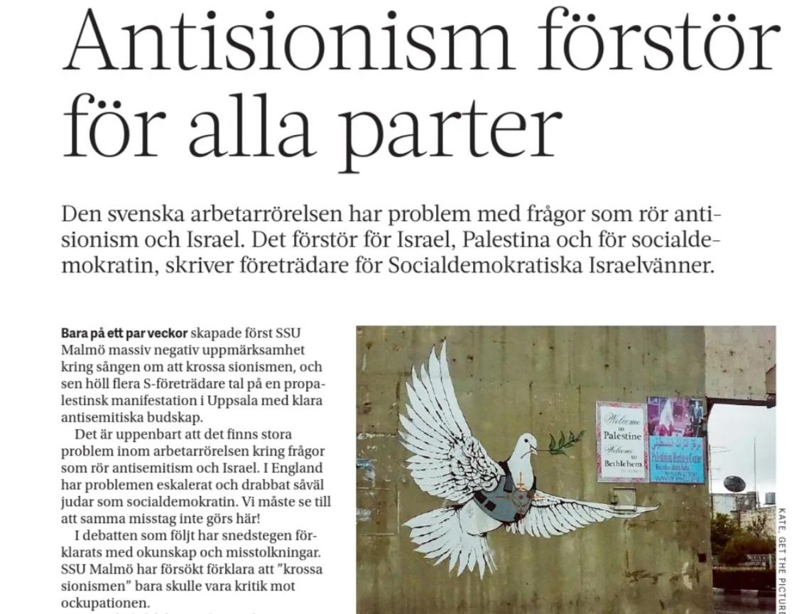 Aktuellt i Politiken om Israel och antisionism